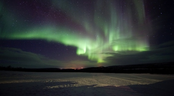A panoromic view of northern lights from Finnmark in Norway