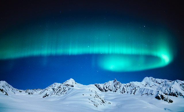 A panoromic view of northern lights from Kiruna in Sweden