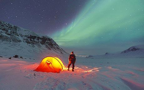 A panoromic view of northern lights from Abisko in Sweden
