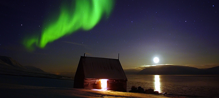 A panoromic view of northern lights from Svalbard in Norway