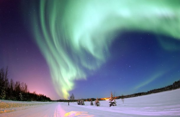 A panoromic view of northern lights from Swedish Lapland