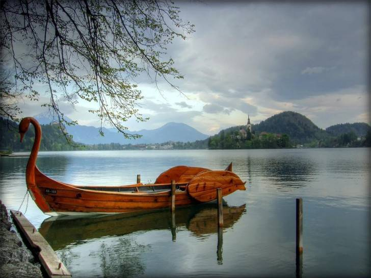Lake Bled in Slovenia - Swan boat