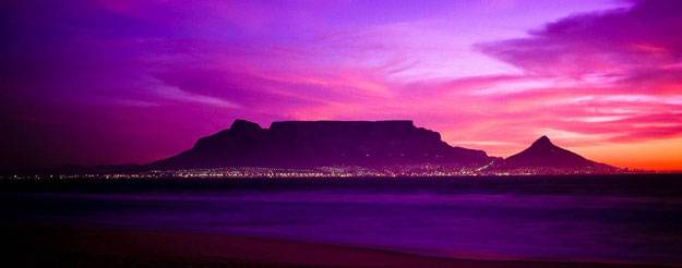 Visit South Africa -  Mountain in the sunset