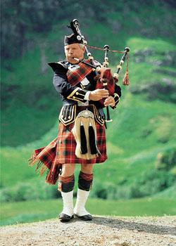 Scotland`s History and Culture - Playing the bagpipes