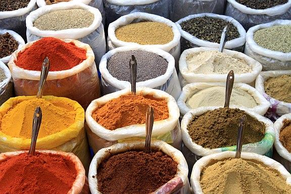 Indian cuisine - a variety of Indian spices