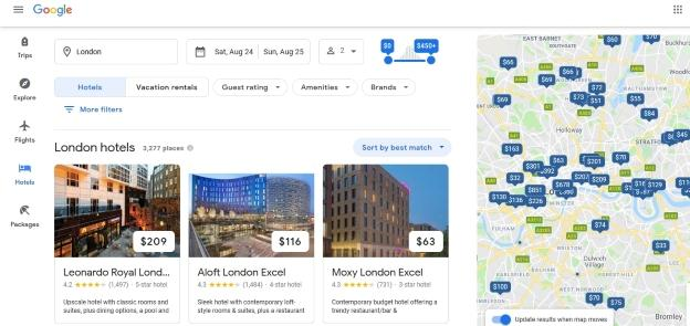 Google Travel - Hotels near me