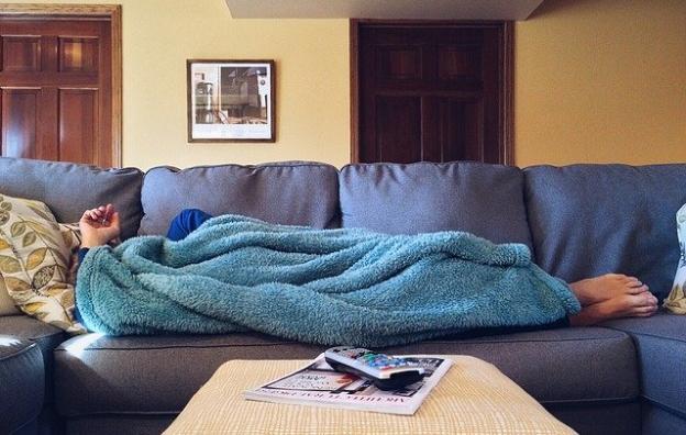 sleeping on the sofa